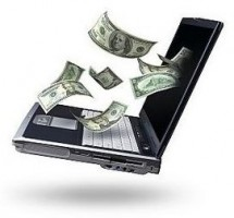 Money flying out of laptop - the aim of online marketing