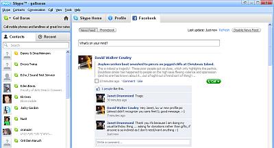 Skype Facebook Tab