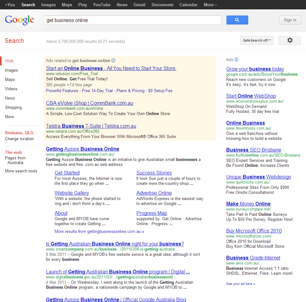 "Google Search results for ""get business online"""