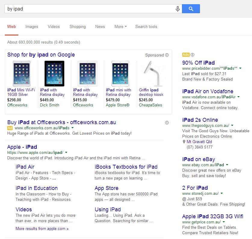"Google Search results for ""buy iPad"""