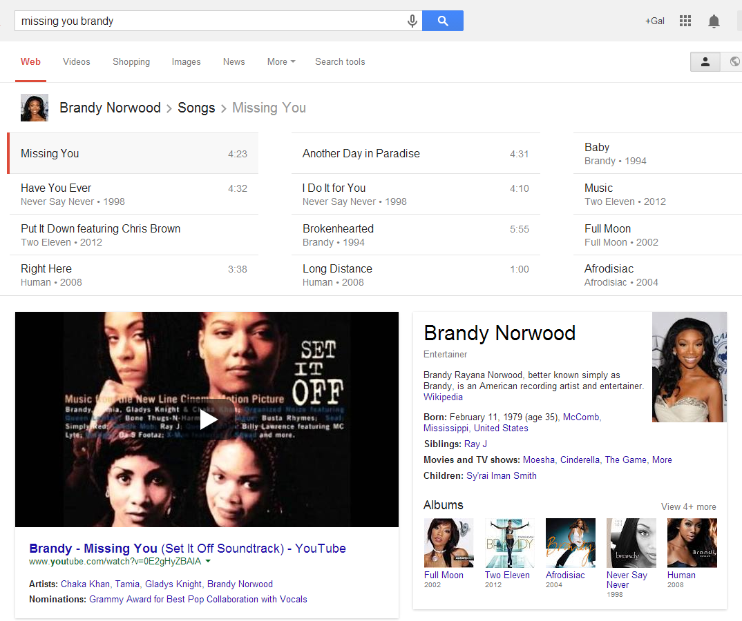 Google Search results for brandy songs