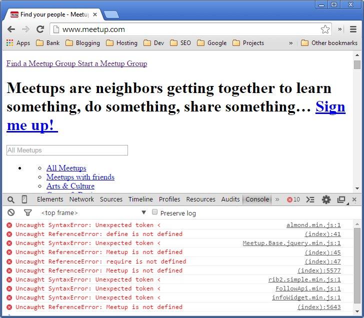Meetup.com site errors