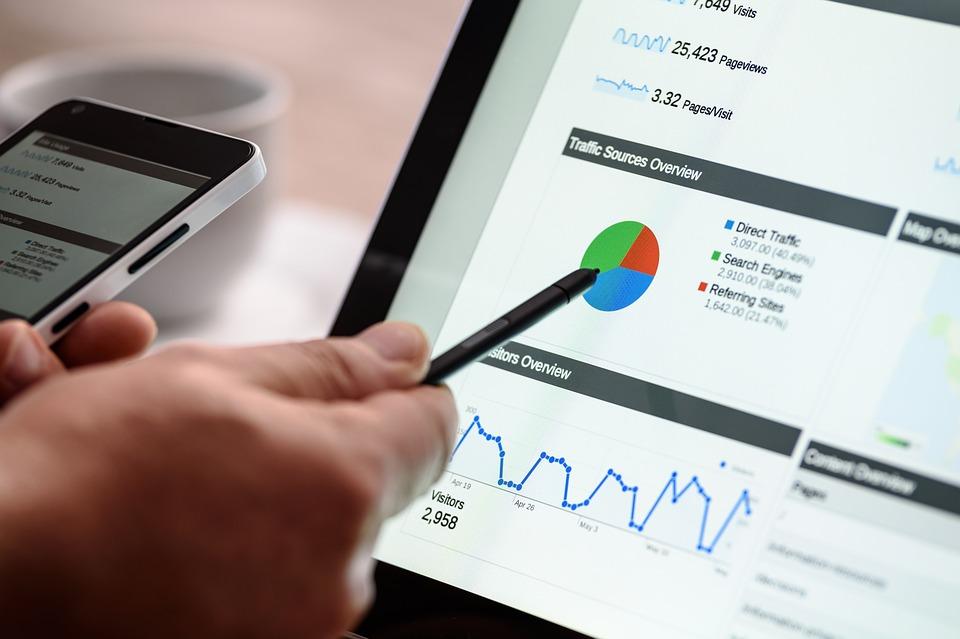 Digital Marketing graphs on a computer screen