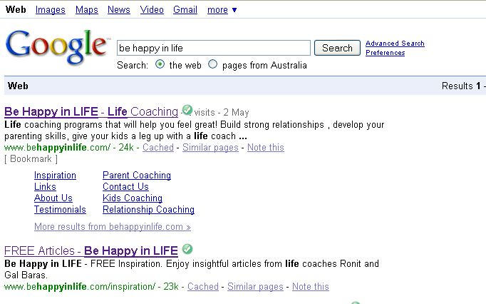 Google search results for Be Happy in LIFE
